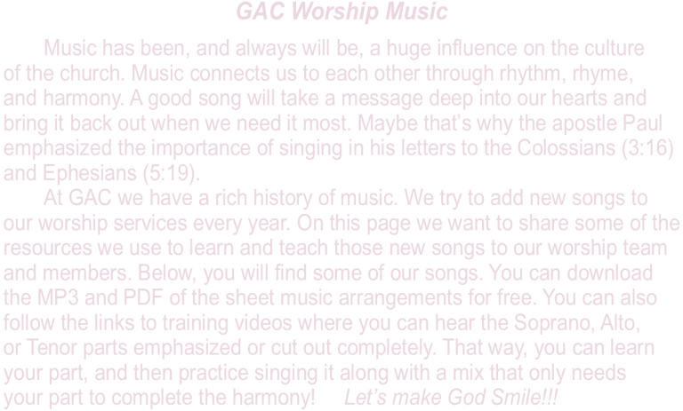 GAC Music – GREATER ALTON CHURCH
